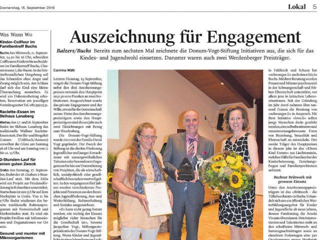 Auszeichnung für Engagement